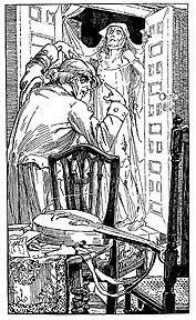 Illustration par Alice B. Woodward pour La Chute de la Maison Usher, 1903