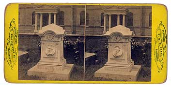 Stereopticon view card of Poe's Memorial Grave