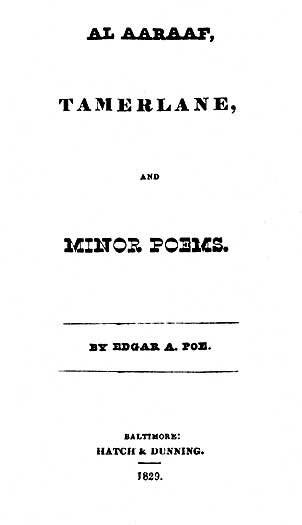 Al Aaraaf, Tamerlane and Minor Poems (1829) - title page