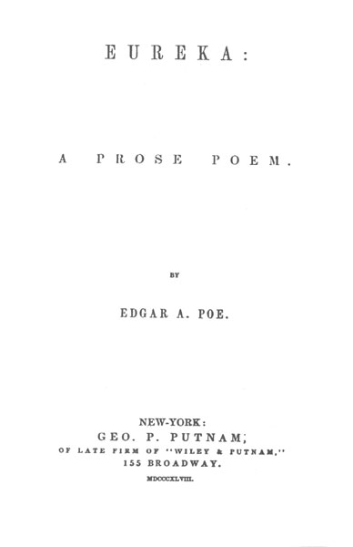 edgar allan poe society of baltimore works editions eureka  eureka a prose poem 1848 title page and table of contents