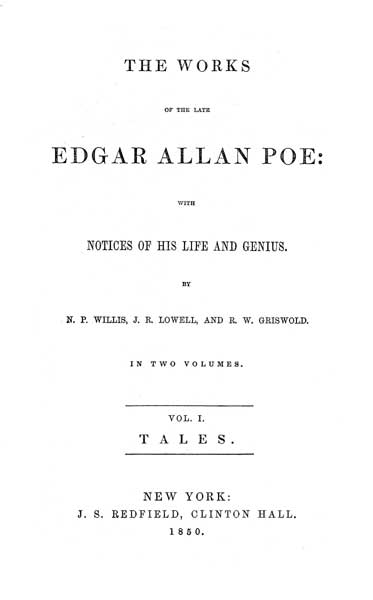 The Works of the Late Edgar Allan Poe - Volume I (1850) - title page