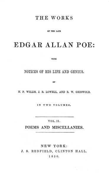 The Works of the Late Edgar Allan Poe - Volume II (1850) - title page