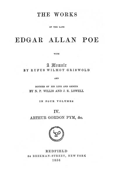 The Works of the Late Edgar Allan Poe - Volume IV (1856) - title page