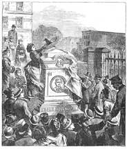 Woodcut engraving of unveiling of the Poe monument