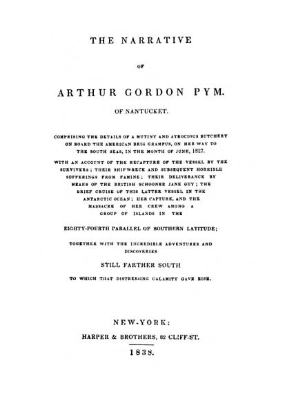 The Narrative of A. G. Pym (1838) - title page