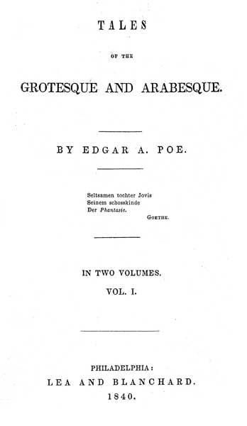 Tales of the Grotesque and Arabesque (1840) - title page